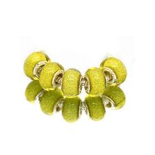 5pcs Silver Murano Yellow Acrylic Charms Beads Fit European Charm Bracelet