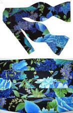 Blue Blossoms & Vines Bow Tie & Cummerbund Set - Blue, Lavender, Green & Purple