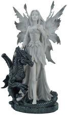 Gothic Figur Patina Elfe Withe Fairy mit schwarzem Drachen