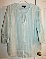 Lane Bryant Linen Blend Button Front 3/4 Sleeve Striped Blouse size 18/20