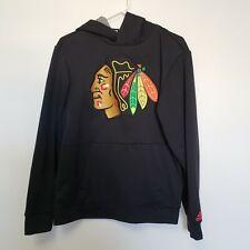Chicago Blackhawks adidas Black  Pullover Hoodie Sz Small Large Patch EUC