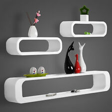 Wall Shelves Floating Wall Mounted Shelf MDF Set of 3 Cube White URG9230ws