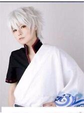 Gintama Sakata Gintoki Blanc court droit Cosplay perruque de cheveux de fête