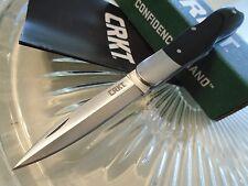 """CRKT Steigerwalt Quill Stiletto Black Bone Pocket Knife 8Cr13MoV 6404 5 1/4"""" Op"""