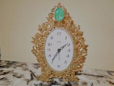 ANTIQUE  GOLDBACH BRASS ALARM CLOCK ORNATE WITH GREEN JADE GERMANY, RARE