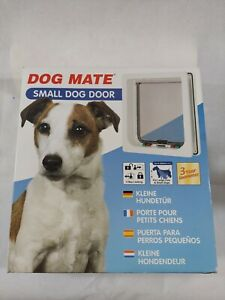 """Dog Mate Small Dog Door For Large Cats & Small Dogs Up to 14"""" - White NEW"""