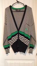 ESCADA by Margaretha Ley Rare VTG White Black Green Stripe Star Cardigan Size 38