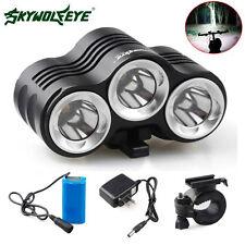 SKYWOLFEYE 12000LM Bike 3 x CREE XM-L T6 LED Bicycle Lamp Headlight Kit +Battery