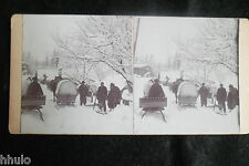 STB901 Chevaux tirant traineau transport neige Russie stereoview photo STEREO