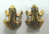 with genuine diamond eyes 14k Gold Frog earrings