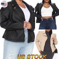 Plus Size Women Fashion Puff Sleeve Fashion Zipped Leather Jacket Overcoat Coat