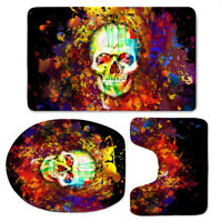 Painting Skull Bathmat Cool Toilet Seat Cover Flannel Mat Home Soft Floor Mat