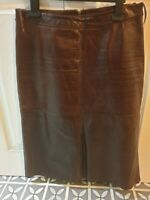 Ladies Brown Leather Skirt, knee length, Gap, Size 6, VGC, slightly A-line