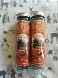 Scentsicles Spiced Pine Cones. New.  Free shipping.  12 Sticks  2 bottles.