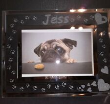 PERSONLISED HAND ENGRAVED GLASS PHOTO FRAME PET CAT DOG PAW PRINT CHRISTMAS GIFT