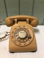 Vintage Beige Bell System Western Electric Rotary Dial Desk Telephone Tan Buff