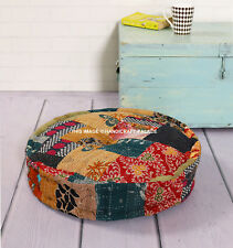 HAND KANTHA PATCHWORK ROUND CUSHION FLOOR CHAIR SEAT PAD SOFA GARDEN HOME OFFICE