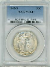 1943-S Walking Liberty Half Dollar 50C, MS 64+ - PCGS