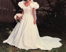BEAUTIFUL Wedding Dress and veil, beaded bodice, scalloped train