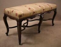 Louis XV French Walnut window bedroom Bench With New Upholstery