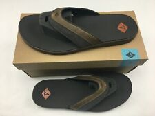 Sperry Top-Sider Men's Wahoo Sandal Flip Flop Thong Brown Leather Size 12M NEW