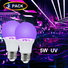 2x 5W UV LED Black Light Party Bulbs E26 Ultraviolet Fluorescent Lamp AC100-240V