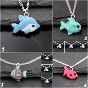 Halskette mit Fische aus Fimo- Delfin. goldfisch Regenbogenfisch handgemacht,