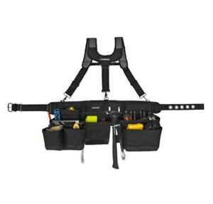 Husky 17-Pocket Black Framer's Tool Belt with Suspenders