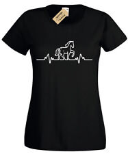 HORSE RIDING HEART BEAT Pulse WOMENS T-SHIRT Equestrian tee Funny Gift birthday