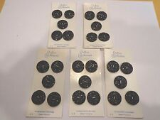 Lot of 5 Cards of 5 Black Faceted Buttons by Schwanda USA Seller Sewing Crafts