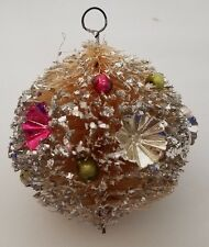 VINTAGE BOTTLE BRUSH CHRISTMAS ORNAMENT MERCURY GLASS BEADS FOIL STARS - JAPAN