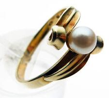 Vintage 14 Carat Gold Pearl Set Ring Size P