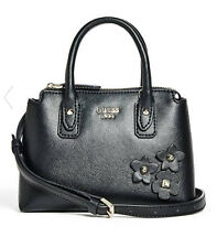 NWT Guess Liya Crossbody small Satchel purse Handbag Black w/ flowers