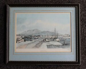 Superb Vintage Lithographic Print Hobart Town From The New Wharf Tasmania