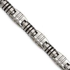 Polished Black Enamel Link Bracelet Chisel Stainless Steel Brushed and