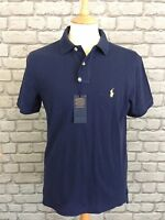 POLO BY RALPH LAUREN MENS UK M NAVY CUSTOM FIT POLO TOP