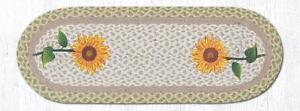 "Braided Jute Hand Stenciled Oval Runner. Earth Rugs TALL SUNFLOWERS 13""X36"""