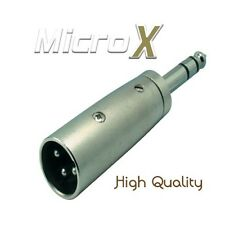 3 Pin Male XLR Plug To Male 6.3mm Stereo Jack Plug Adaptor Convertor