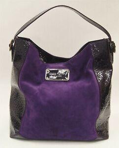 KATE SPADE NEW YORK Purple Suede & Patent Leather Purse Large Shoulder Bag