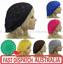 Crochet Hat Knit French Beret Beanie Lace Lacy 1970s 70s PEACOCK LEAF Head Cover