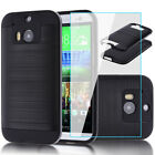 Metal Brushed Hybrid 2-Layer Case Cover+Tempered Glass Screen Protector For HTC