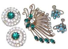 Vintage Butterfly Brooch Pendan P&F 12k GF Rhinestone Earrings Lot Green