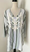 New Soft Surroundings Striped Embroidered Tunic Shirt Sz M Womens Woven Cotton