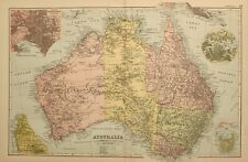 1898 Antique Map Australia Queensland Victoria New South Wales Melbourne Perth