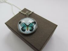 Handmade Turquoise Teal Butterfly Print Script Glass Pendant Chain Necklace