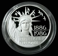 1986 PROOF FRANCE 100 FRANCS PIEDFORT STATUE OF LIBERTY COIN