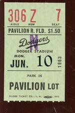 June 10 1963 Los Angeles Dodgers Baseball Ticket Stub Ex+