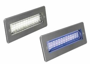 LED Brick Light Wall Light Recessed Polished Stainless Steel in Blue IP68 2.3w