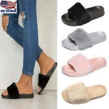 Women's Slip On Slippers Slider Fluffy Fur Flat Sandals Ladies Mules Shoes Size