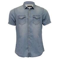 Mens Denim Vintage Shirt Brave Soul 'Amor' Short Sleeved Faded Cotton Summer